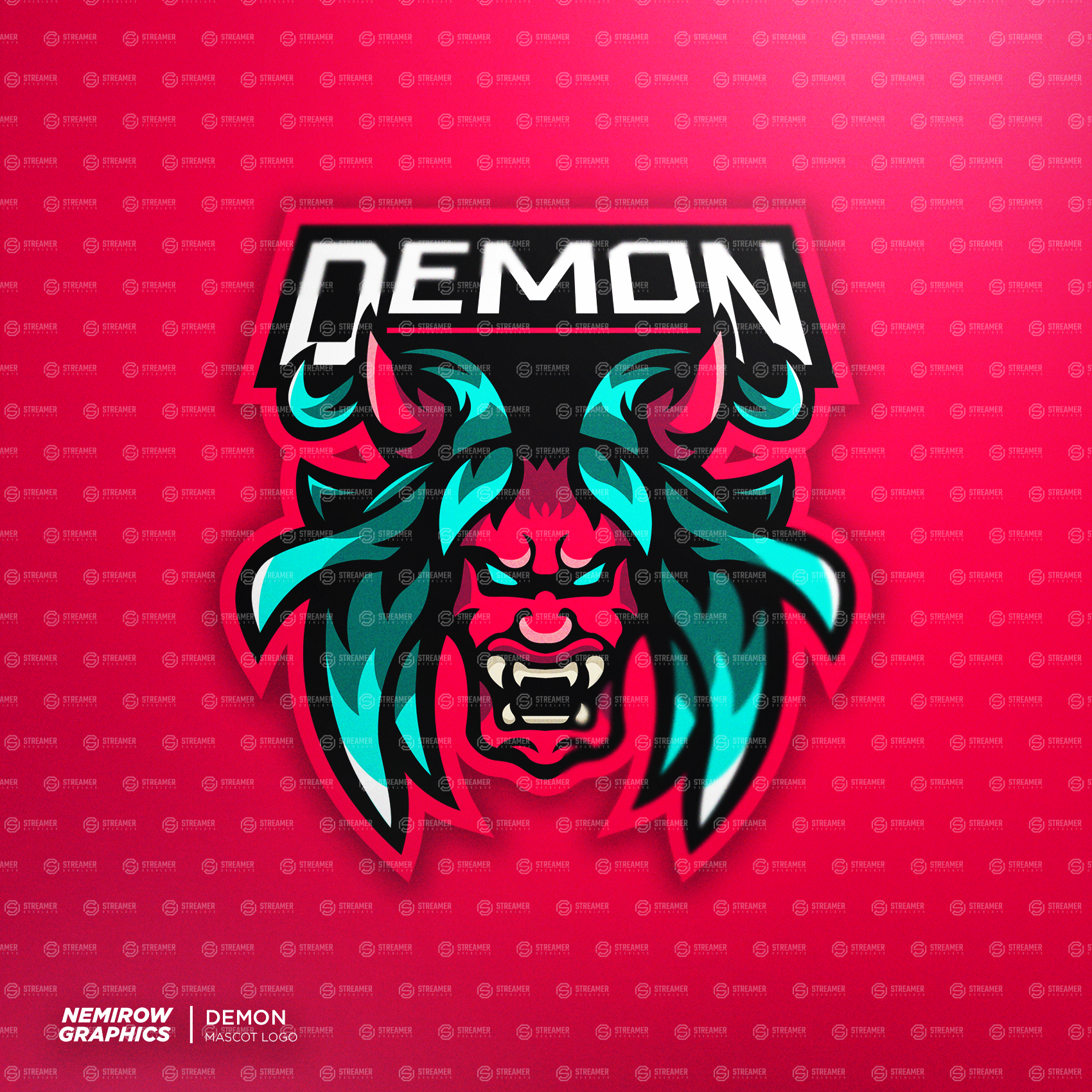 demon mascot logo for sale Streamer overlays premade mascot esports logos for sale