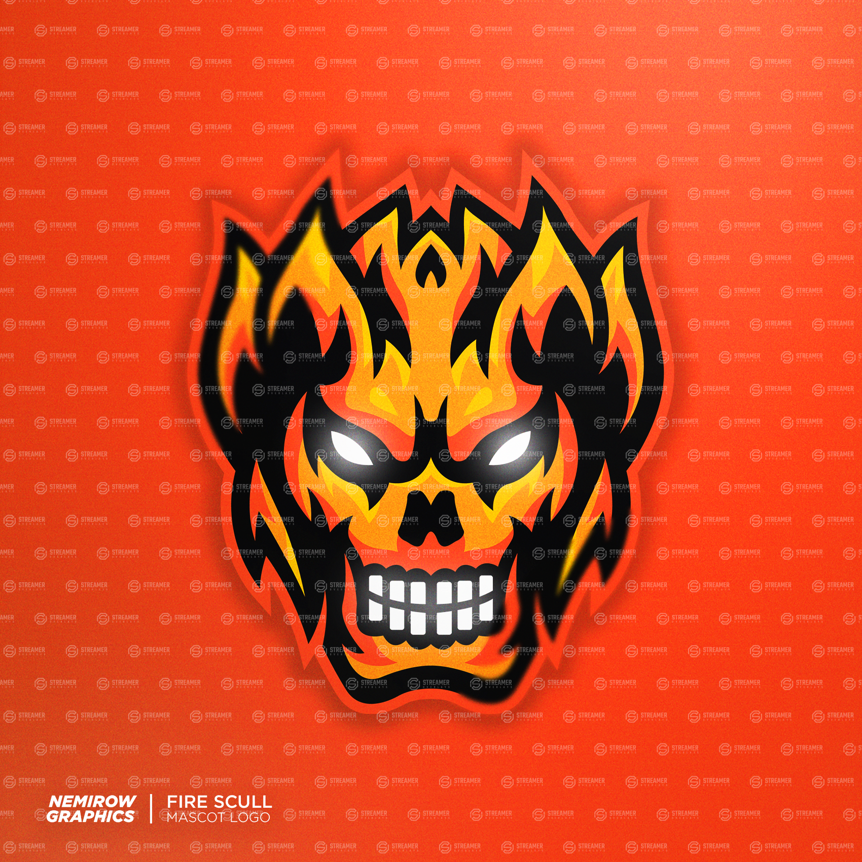 fire demon mascot logo for sale Streamer overlays premade mascot esports logos for sale