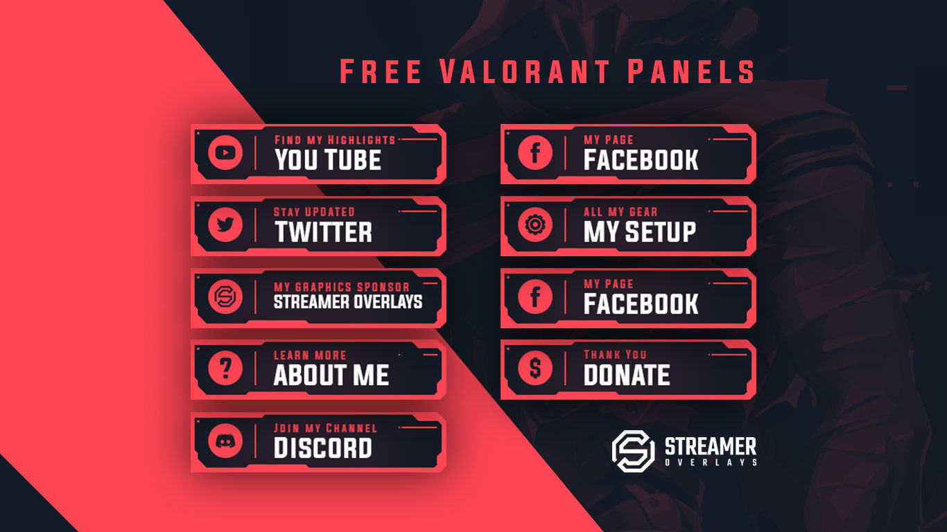 Free Valorant Twitch Panels Streamer overlays