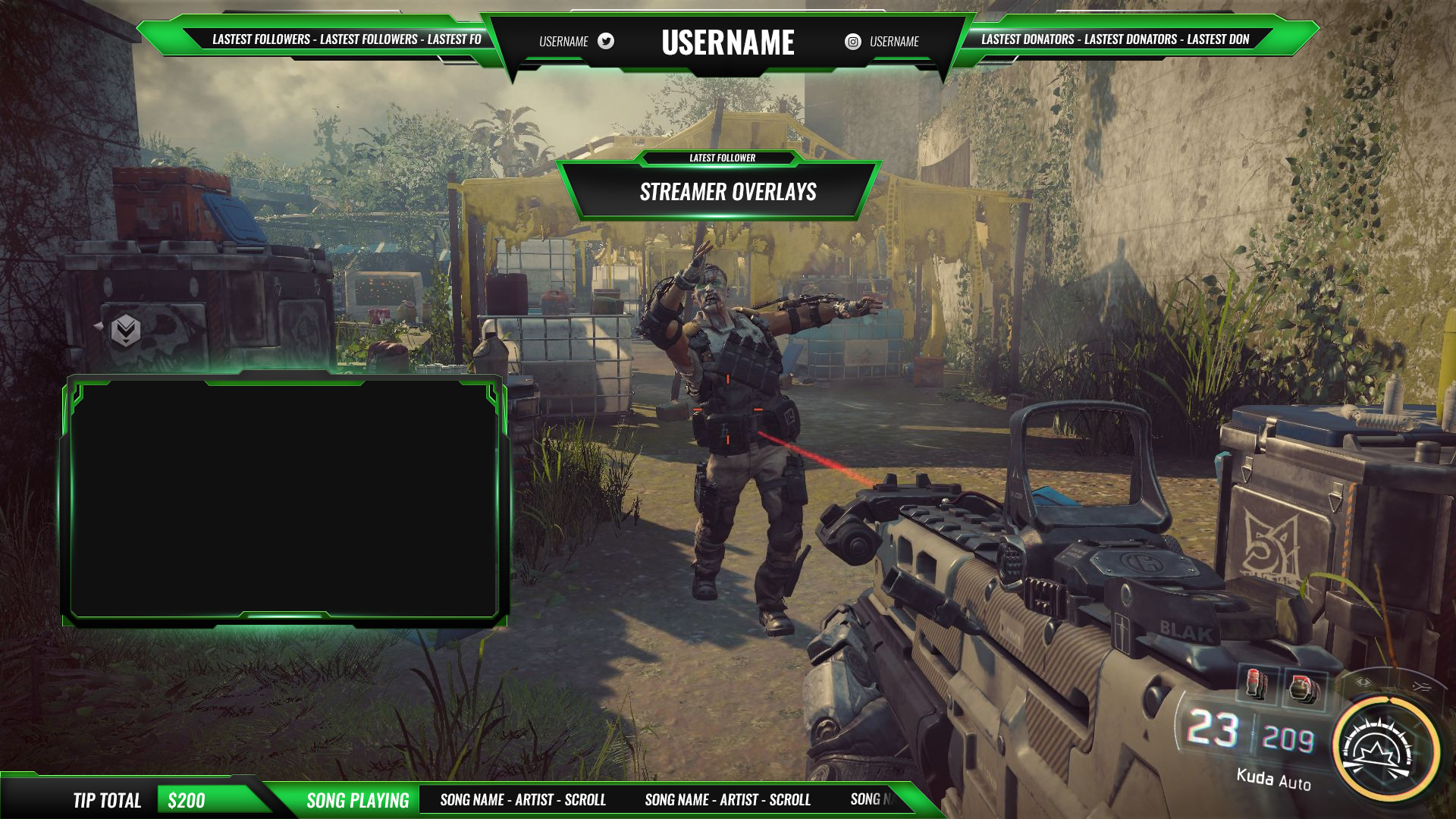 Green twitch overlay package Streamer Overlays