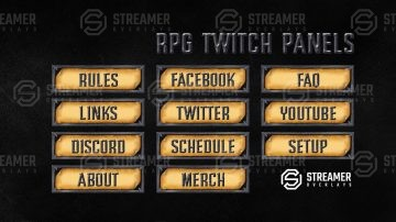 RPG Twitch Panels | Streamer overlays twitch graphics
